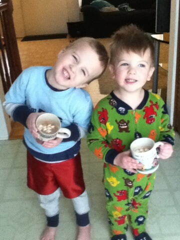 brothers with hot chocolate