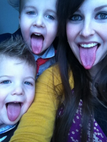 mom and boys sticking out tounge