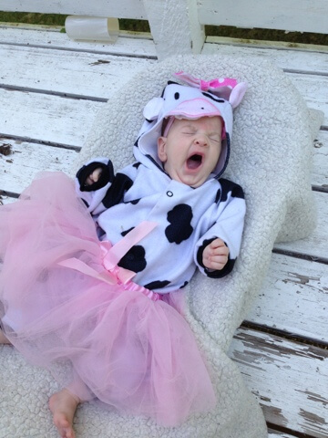 baby wearing cow costume