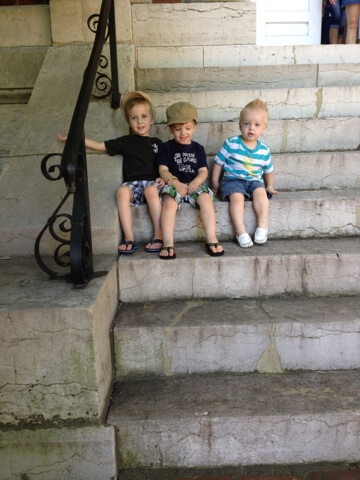 3 boys on stairs