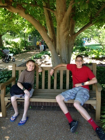 brothers sitting on bench