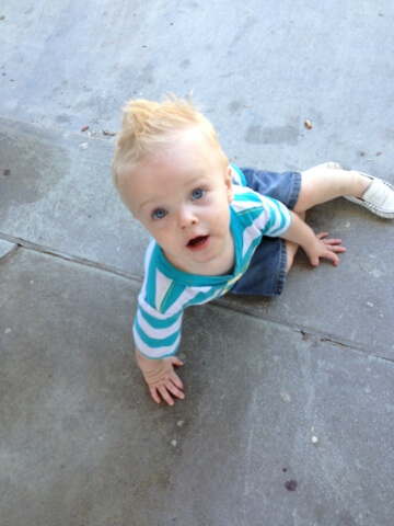 cute toddler boy looking up