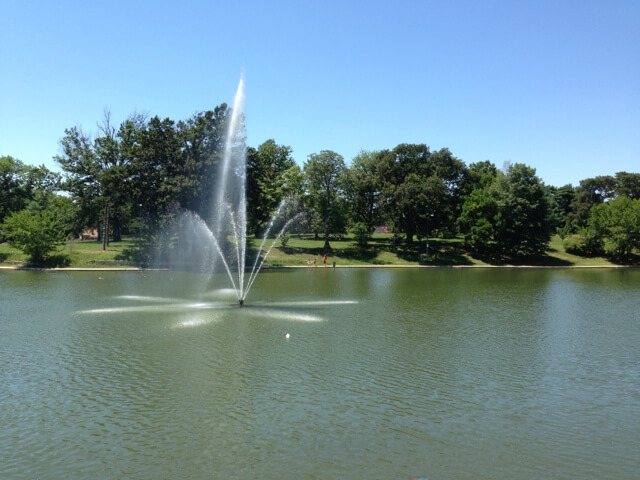 water fountain in lake