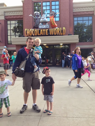 dad and kids at chocolate world