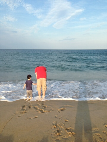 dad and boy standing on beach