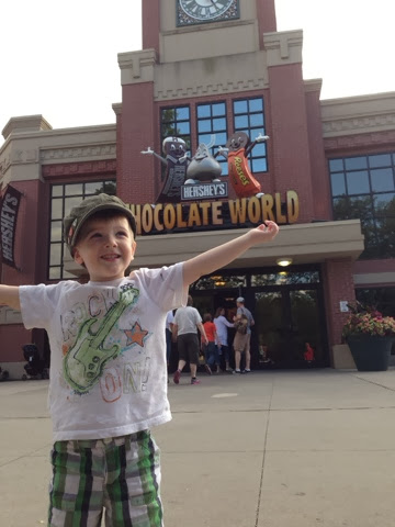 little boy outside hershey chocolate factory