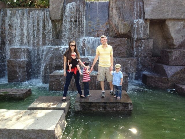 large family picture waterfall