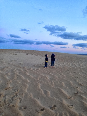 boys at sand dunes in outer banks