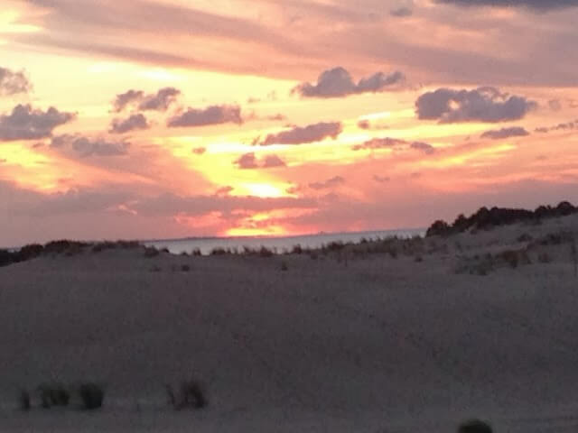 pink sunset at sand dunes