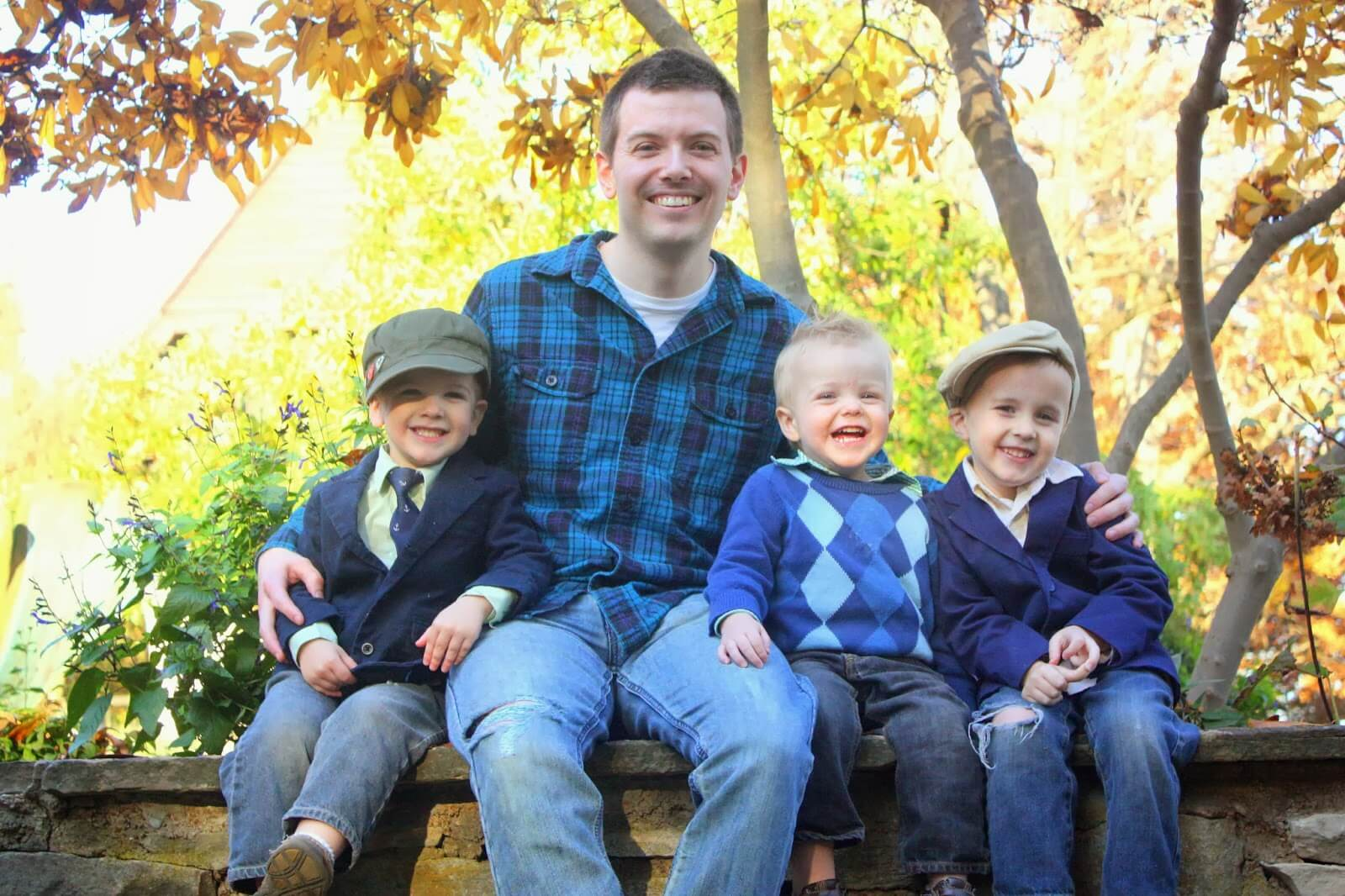 dad and 3 sons