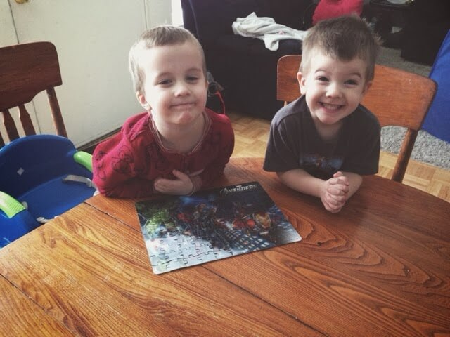 brothers and completed puzzle