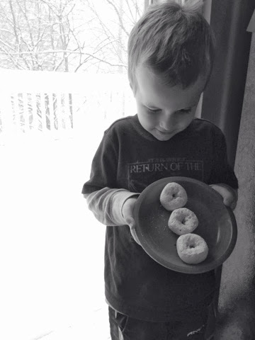 boy with donuts