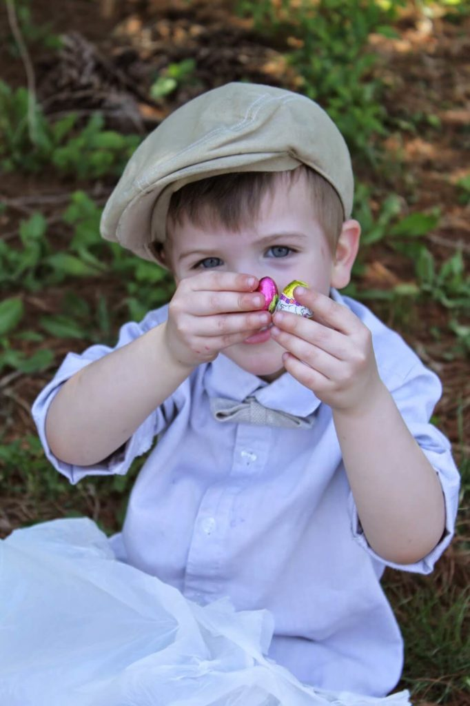 little boy with candy