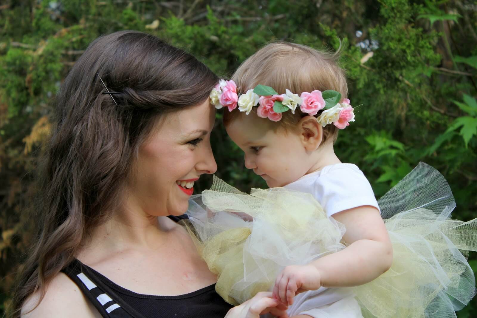young mom and cute baby girl