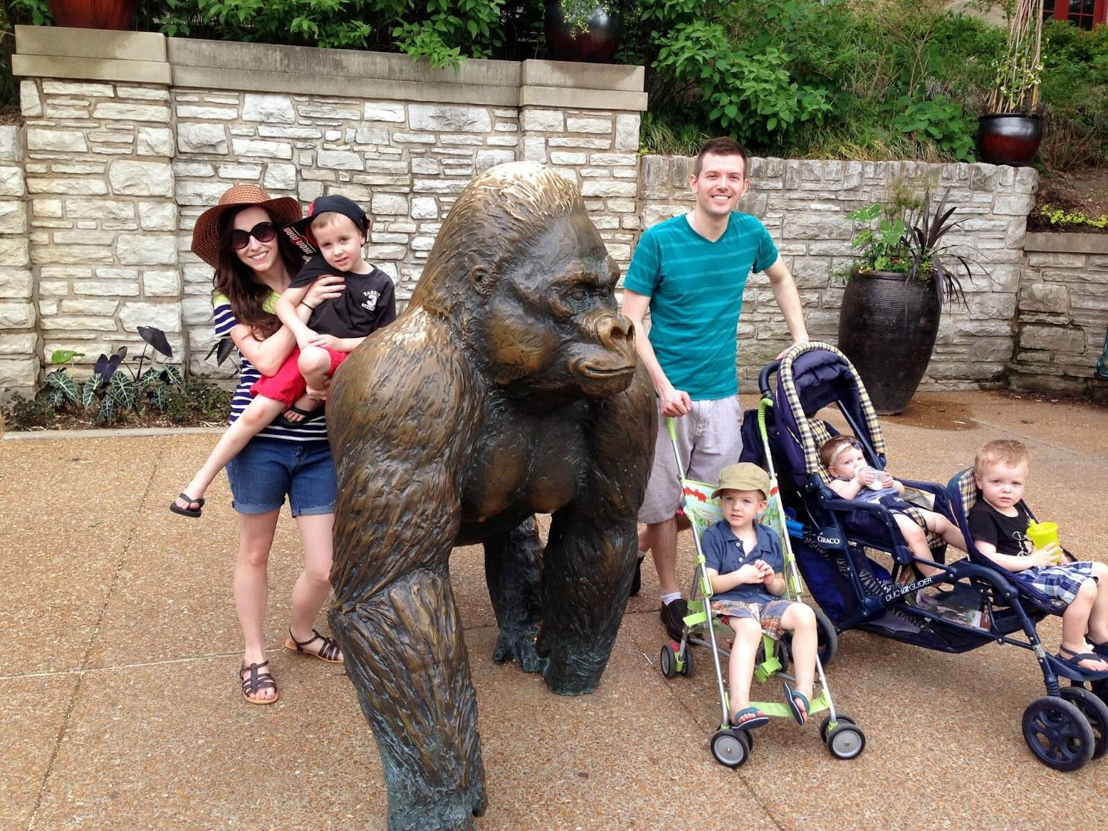 large family at zoo
