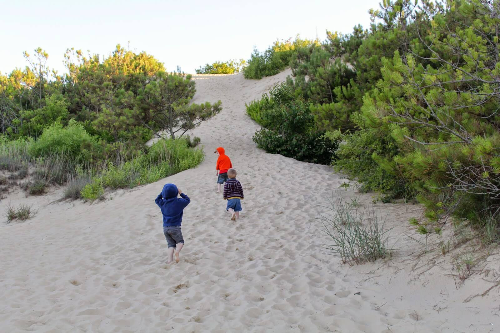 3 boys walking in sand