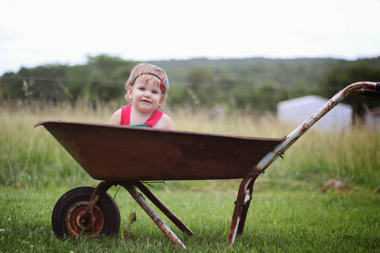 baby girl in wheelbarrow