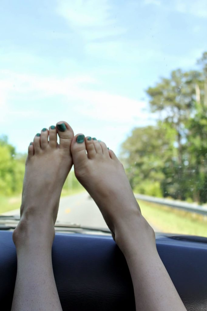 feet propped up