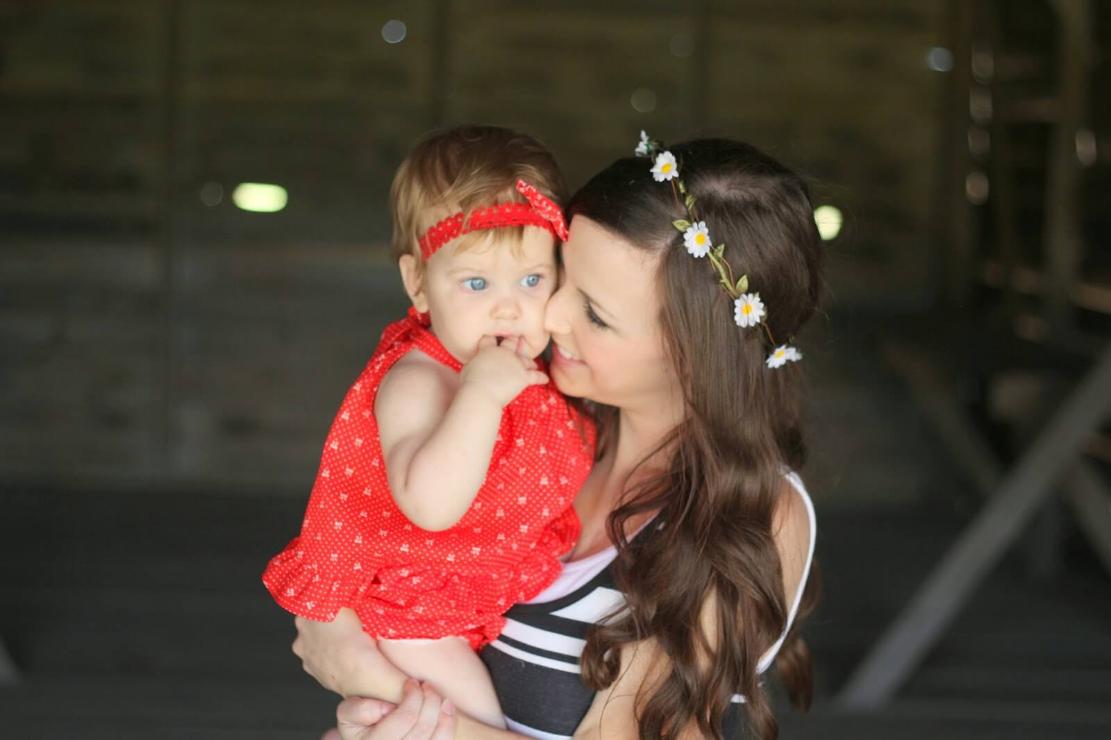 young mom and baby