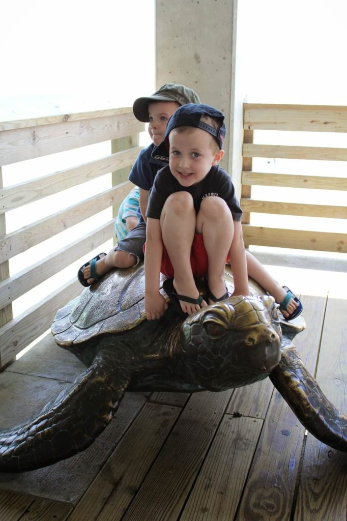 brothers sitting on turtle statue