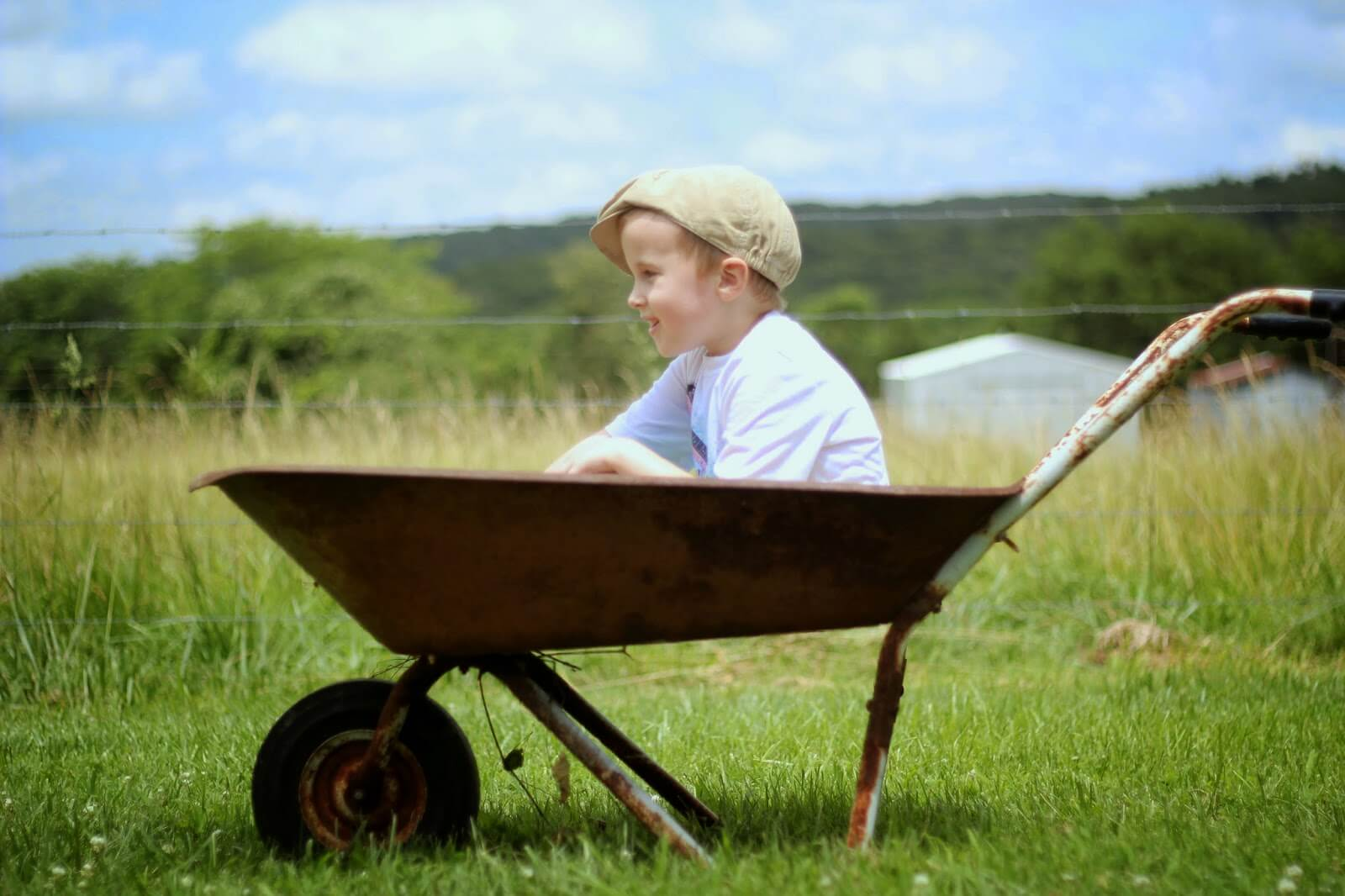 boy sitting in wheelbarrow