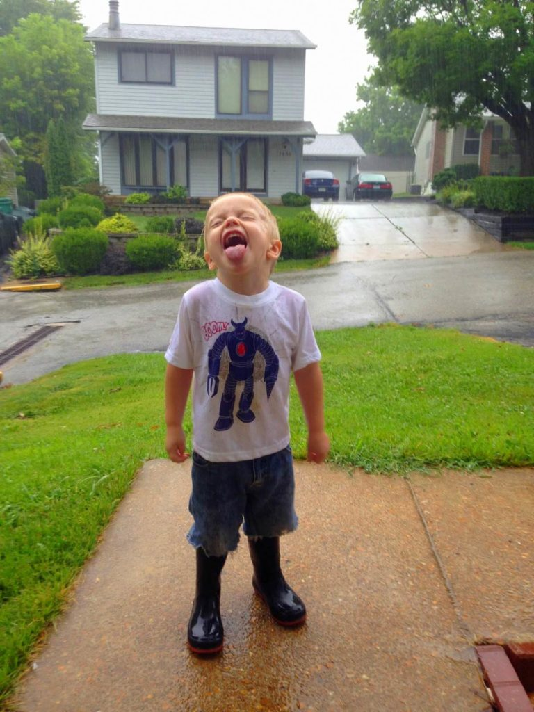 catching rain water in mouth