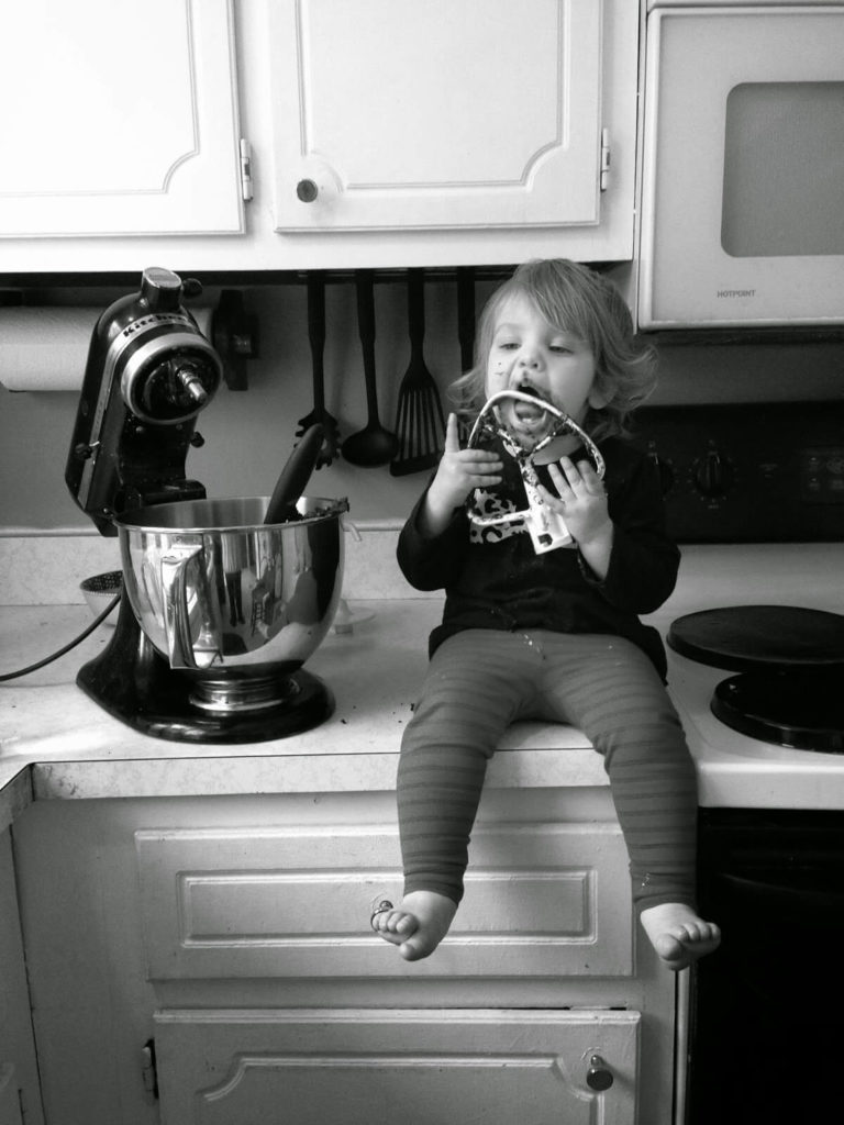 baking with little girl
