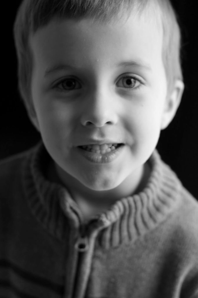 black and white portrait of boy