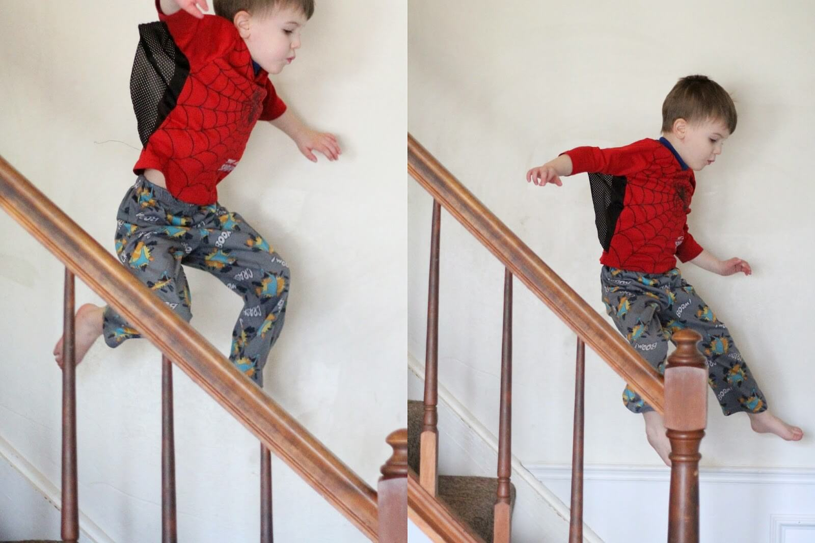 young boy jumping down stairs