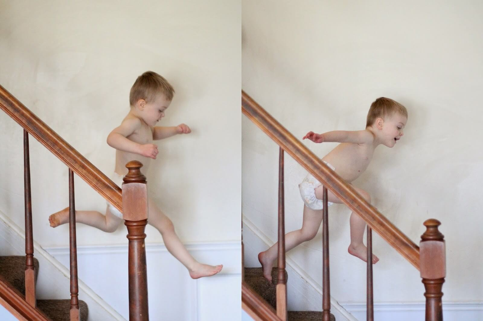 boy jumping down stairs