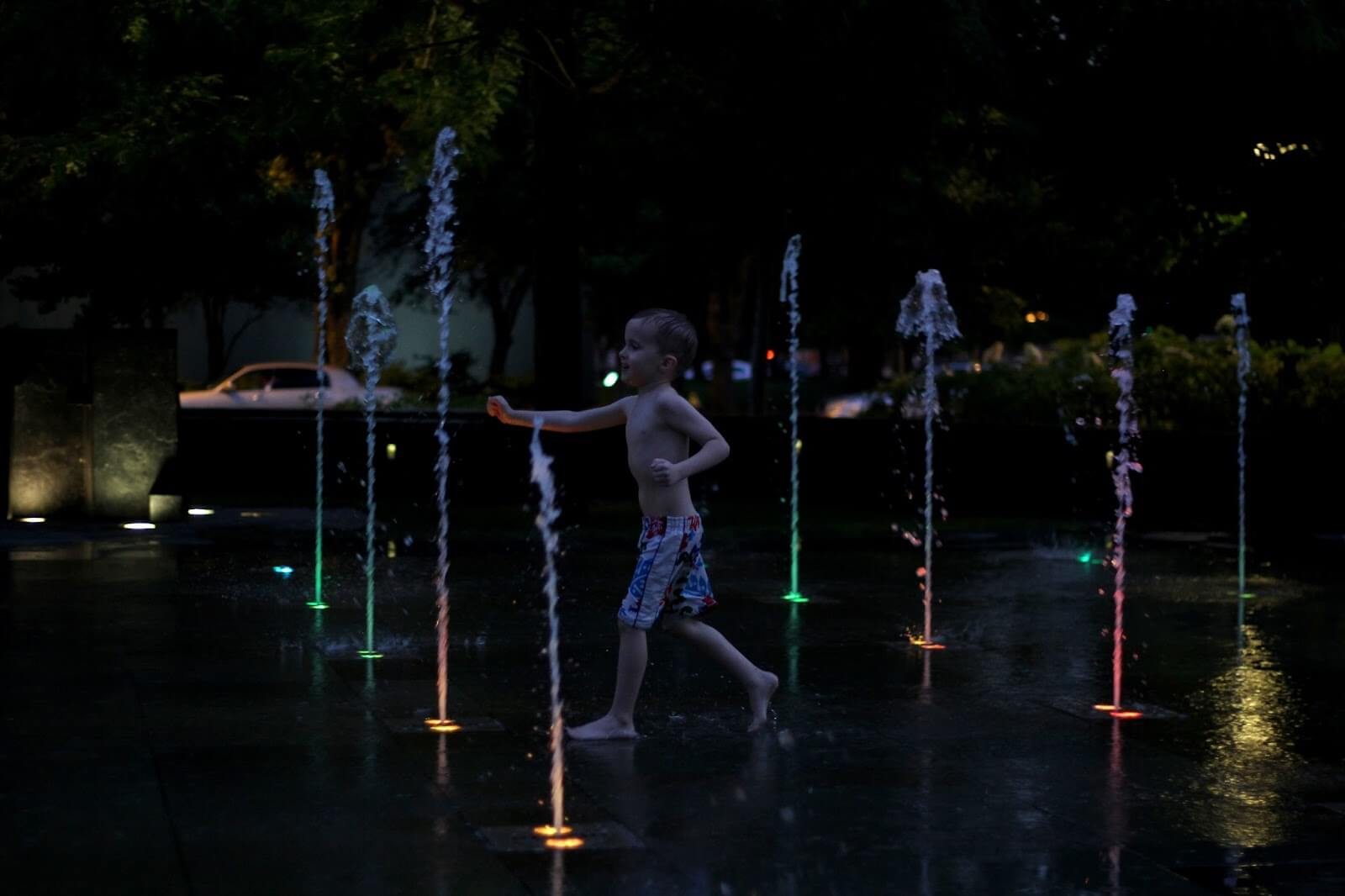 colorful changing lights at splash pad