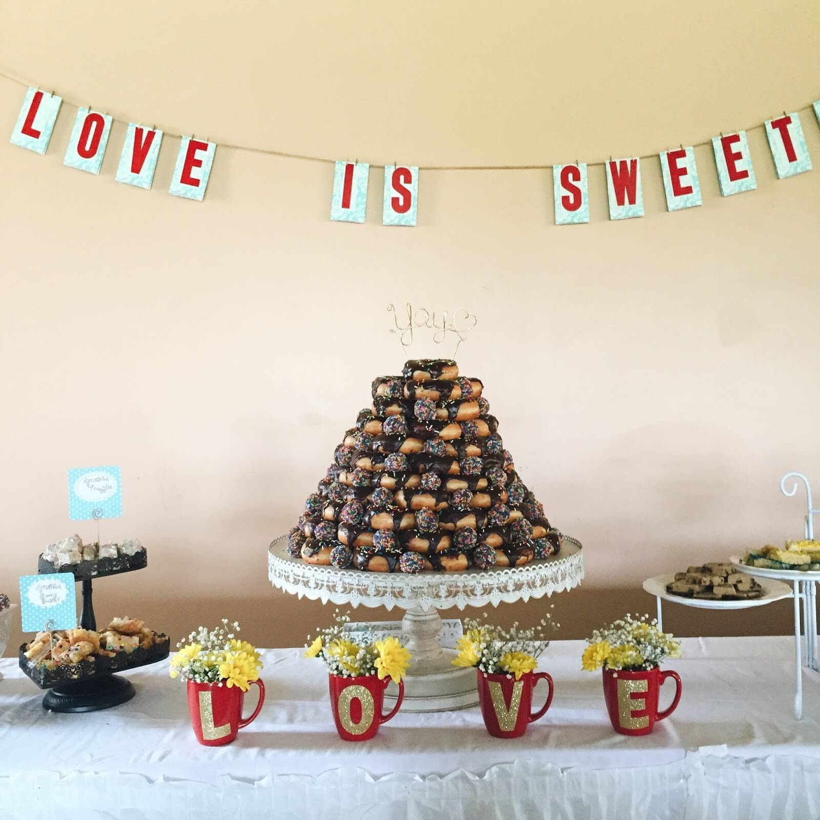 wedding cake made of donuts