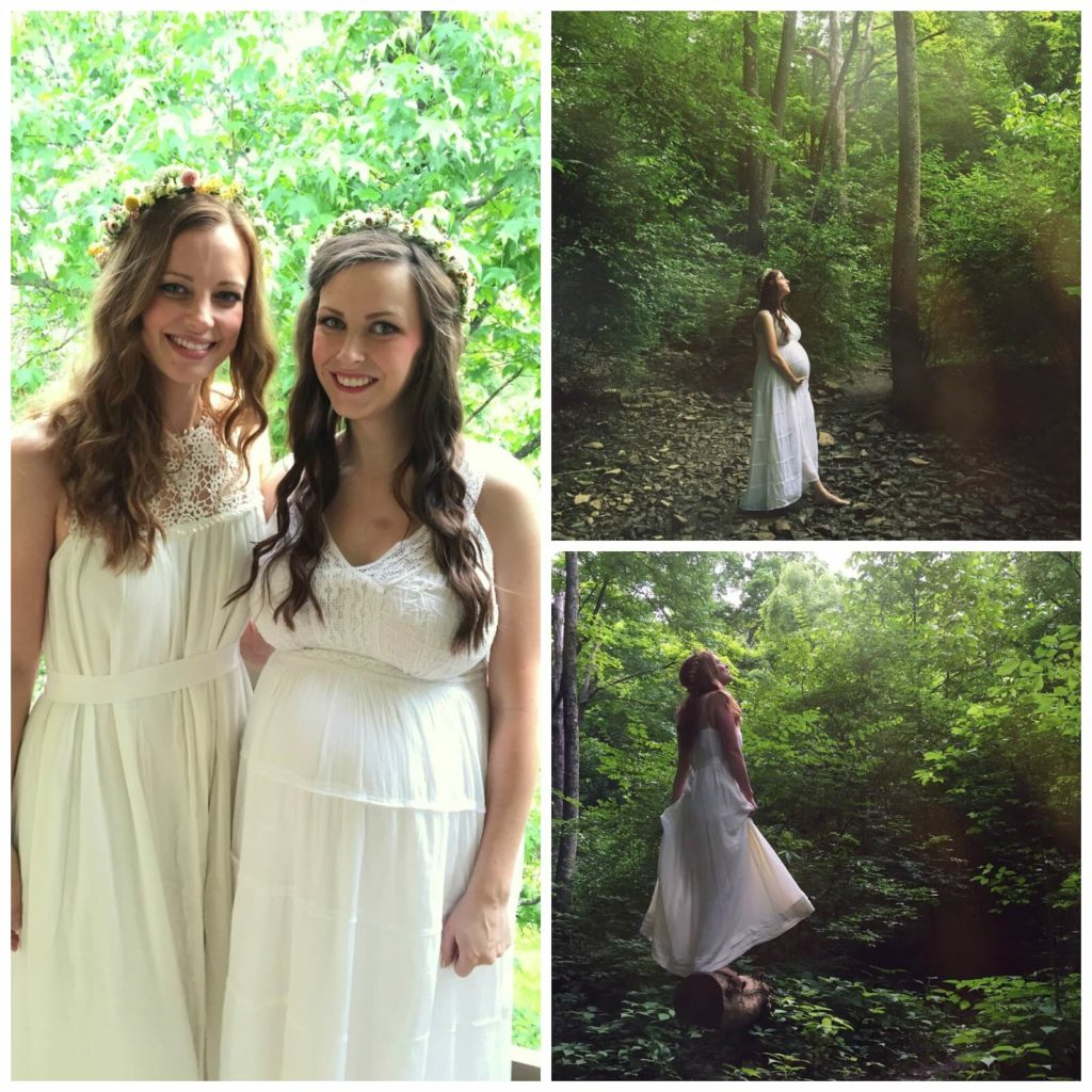 white dress in the forest