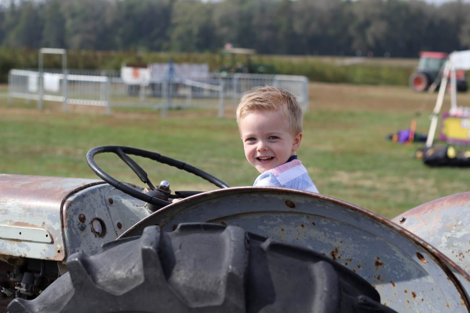 kingston on a tractor