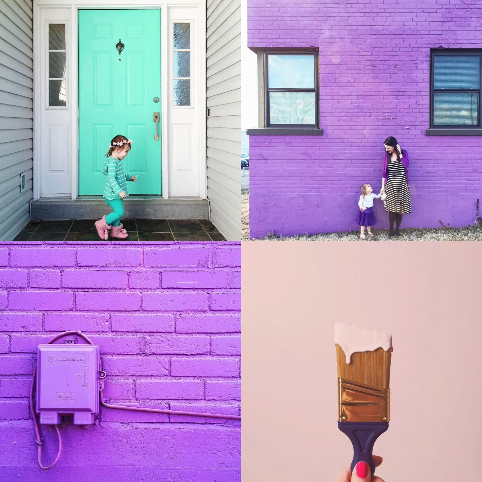 purple wall and pink paint