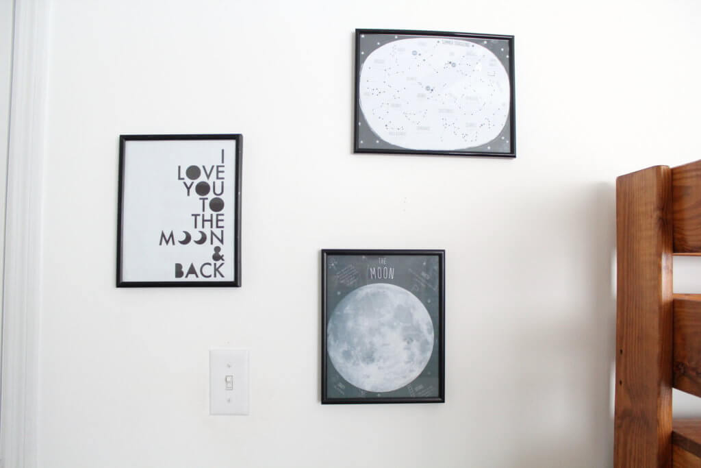 3 pictures of the moon on the wall