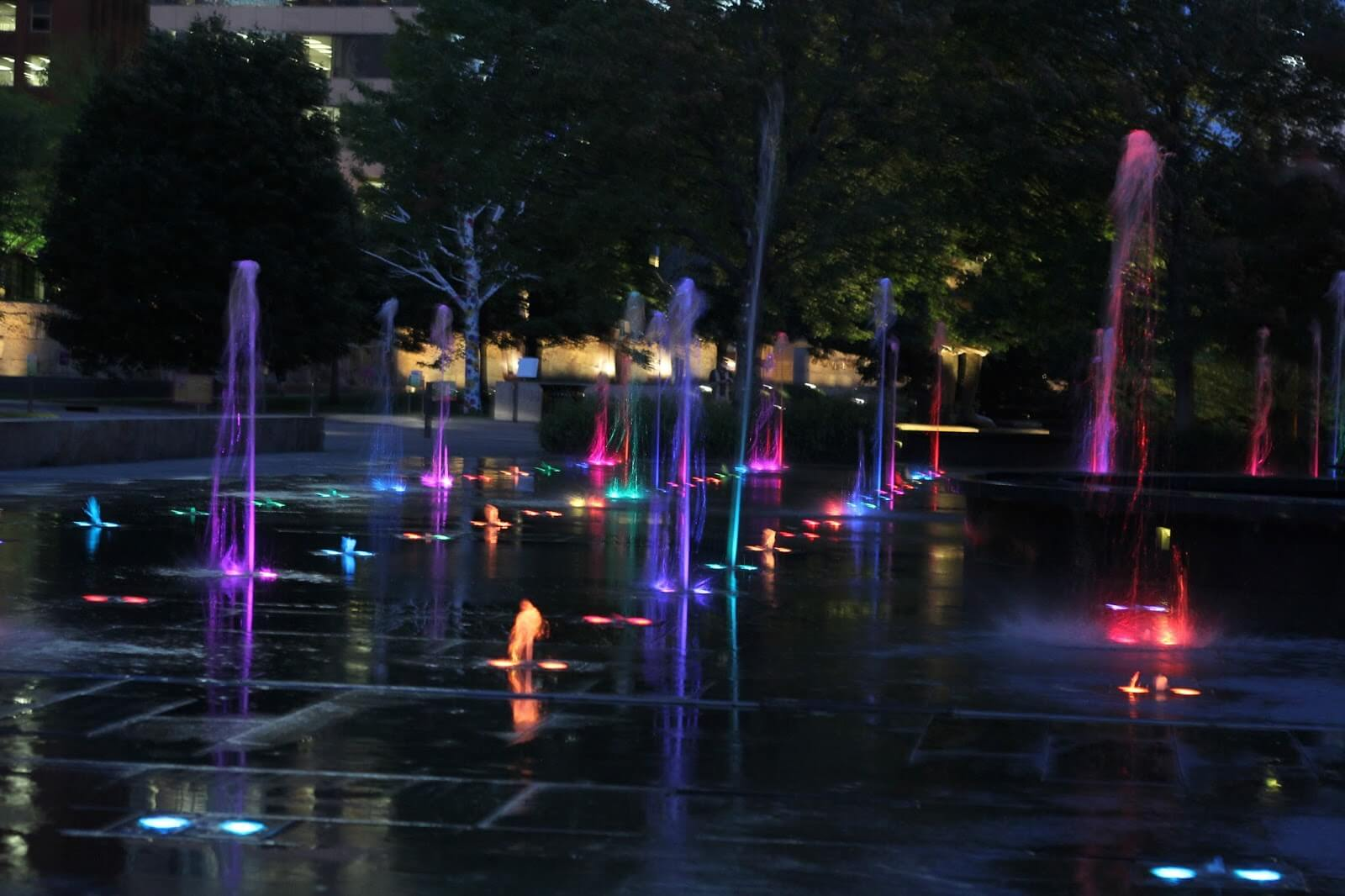 colorful water fountains at night