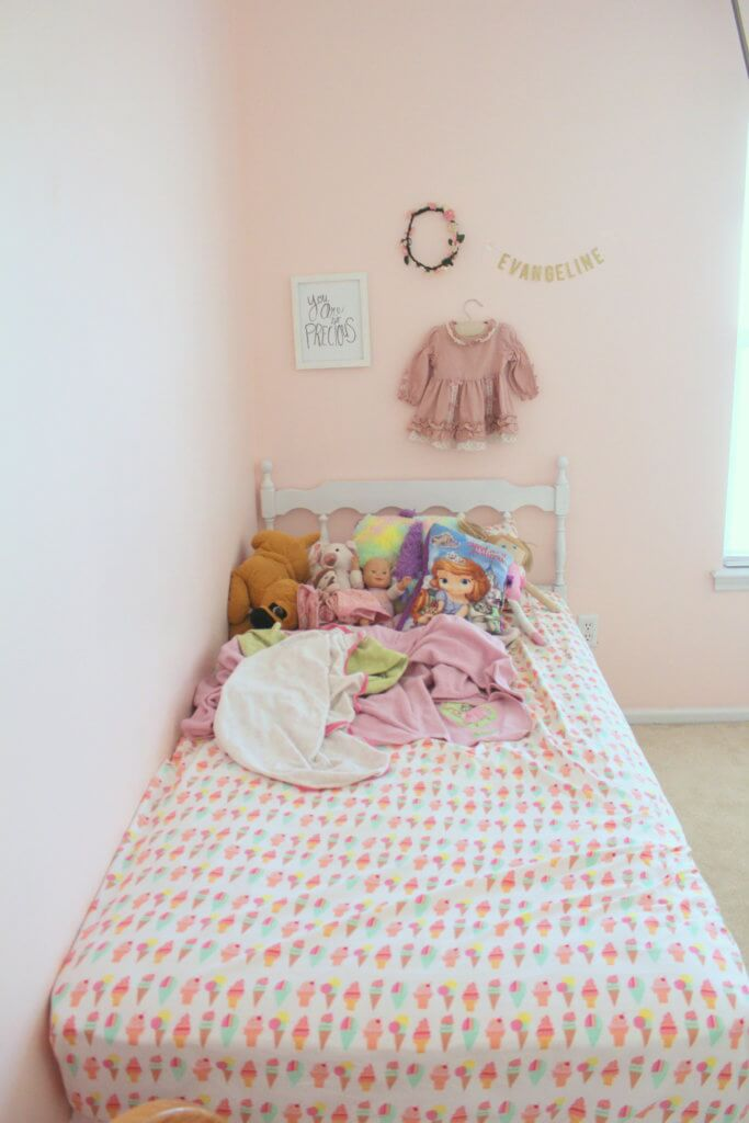 girly room with pink walls